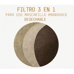 30 días - Filtro circular 3 en 1 para uso Mascarilla NANOHACK COPPER3D